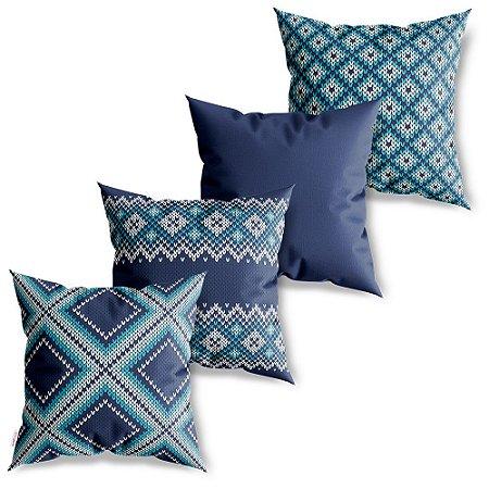 Kit 4 Capas de Almofadas Decorativa Tricot Azul