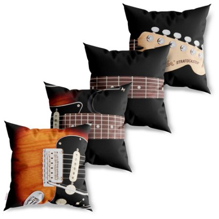 Kit 4 Capas de Almofadas Decorativas Guitarra