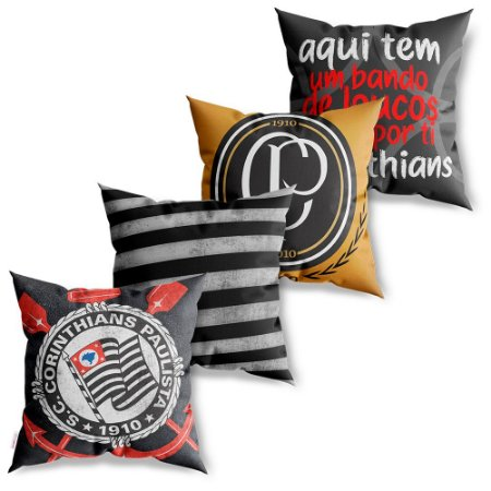 Kit 4 Capas de Almofadas Decorativas Corinthians