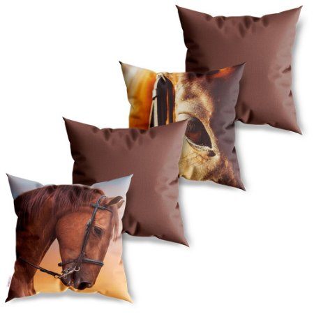 Kit 4 Capas de Almofadas Decorativas Cavalo Marrom