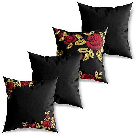 Kit 4 Capas de Almofadas Decorativas Bordado Black Rosa