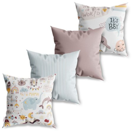 Kit 4 Capas de Almofadas Decorativas Baby Patterns
