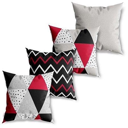 Kit 4 Capas de Almofadas Decorativa Triângulos Vermelhos
