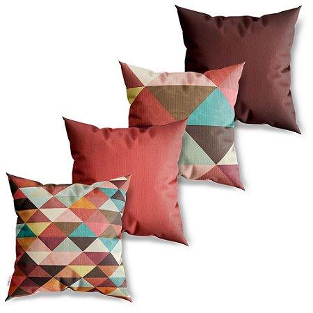 Kit 4 Capas de Almofadas Decorativa Triângulos Coloridos