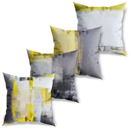 Kit 4 Capas de Almofadas Decorativa Pintura Yellow and White