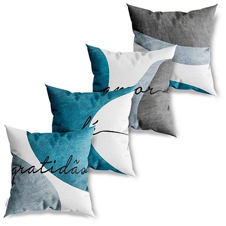 Kit 4 Capas de Almofadas Decorativa Gratidão Fé Amor Azul