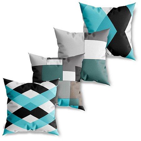 Kit 4 Capas de Almofadas Decorativa Geométricos Abstratos Azuis