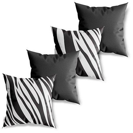 Kit 4 Capas de Almofadas Decorativa Zebra