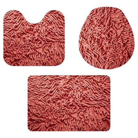 Kit Tapete Para Banheiro Fofinho Vermelho 3 Peças