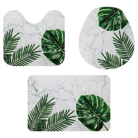 Kit Tapete Para Banheiro Folhas Verdes 3 Peças