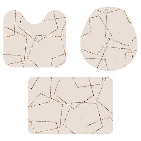 Kit Tapete Para Banheiro Geométrico Rose Gold 3 Peças