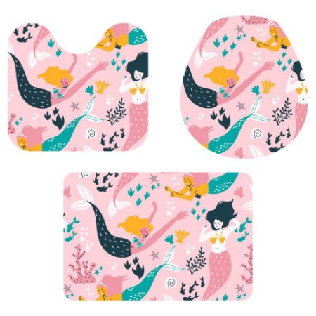 Kit Tapete Para Banheiro Sereias 3 Peças