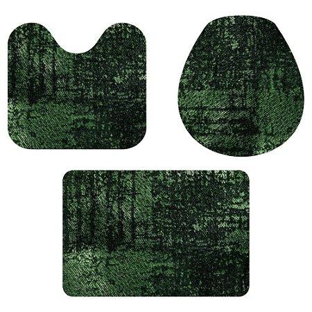 Kit Tapete Para Banheiro Veludo Verde 3 Peças