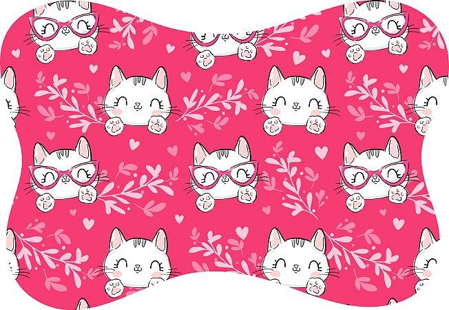Tapete Decorativo Osso Pet Gatinha Fundo Rosa