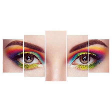 Quadro Decorativo Olhos Cores 129x61cm Sala Quarto
