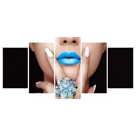 Quadro Decorativo Modelo Boca Azul 129x61cm Sala Quarto
