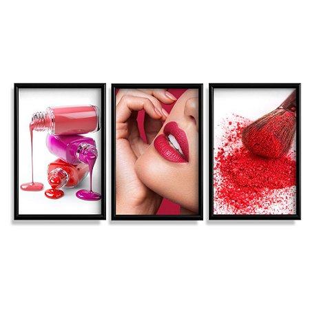Quadro Com Moldura Maquiagem Vermelha Esmalte 60x40 3 Peça