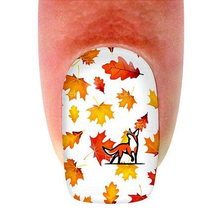 Adesivo de Unha Animal Raposa Folhas de Outono 146 - 12un