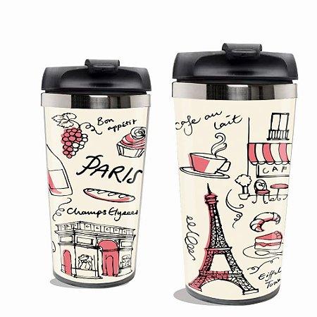 Copo Térmico Torre Eiffel  Paris Rosa .