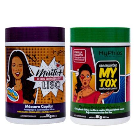 MyTox Botox Capilar 1Kg + Máscara Muito Mais Liso 1Kg MyPhios