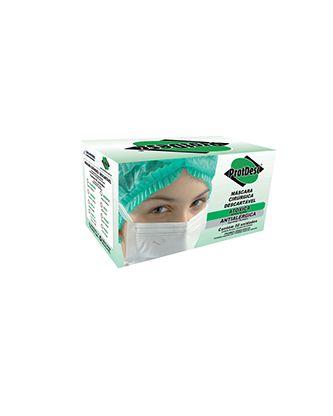 Máscara Cirúrgica Tripla c/ Elástico Branca. Protdesc cx c/50
