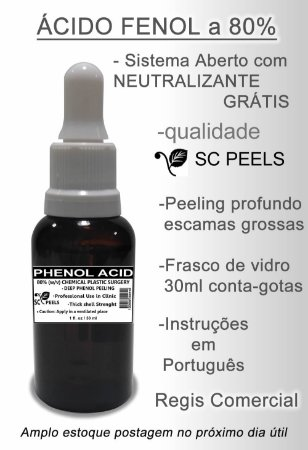 Kit Ácido Fenol a 80% (peeling pele clara) Neutralizante 2 vidros 30 ml