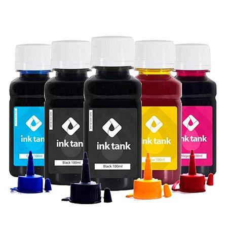 Kit 5 Tintas Epson L355 CMYKK Corante 100ml InkTank
