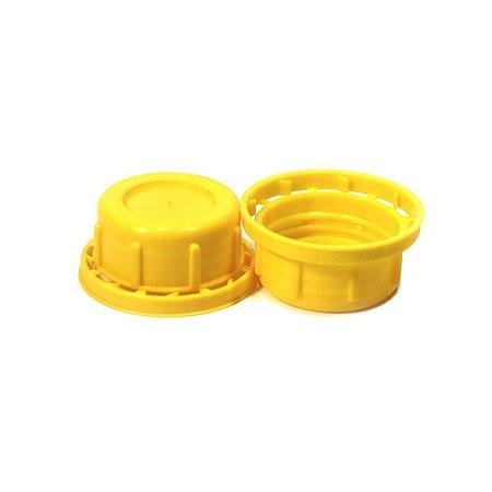 Kit 10 Tampas Amarelas para Frasco de Envase de Pó PEAD