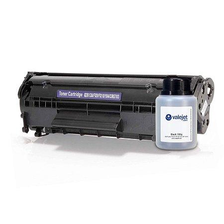 Kit Toner + Refil 100g Valejet para HP 2612a   HP 1010 Compatível