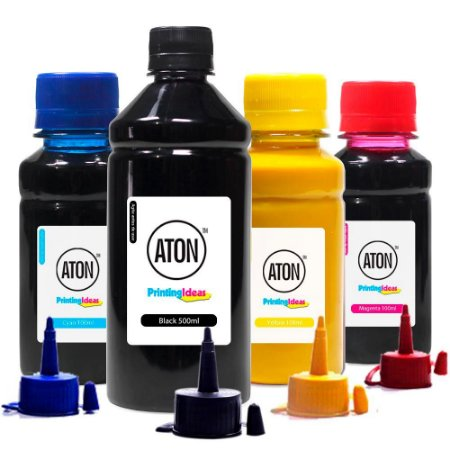 Kit 4 Tintas para Epson Sublimática ATON Black 500ml Coloridas 100ml