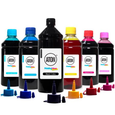 Kit 6 Tintas L800 para Epson ATON Black 1 Litro Coloridas 500ml