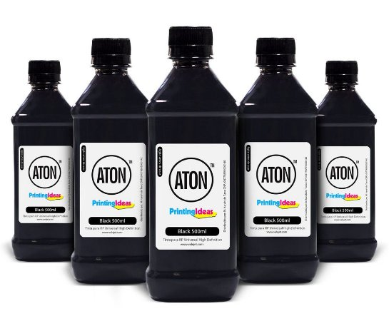 Kit 5 Tintas para HP Universal Aton High Definition Black Pigmentada 500ml