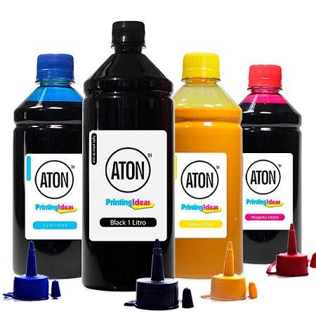Kit 4 Tintas para Epson Universal Black 1L Color 500ml Aton Pigmentada