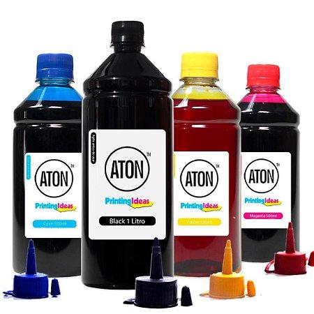 Kit 4 Tintas L1300 para Epson Black 1 Litro Color 500ml Corante Aton