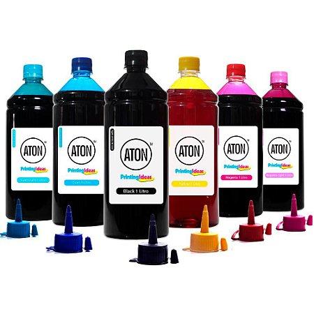 Kit 6 Tintas L1800 para Epson Bulk Ink CMYK 1 Litro Corante Aton