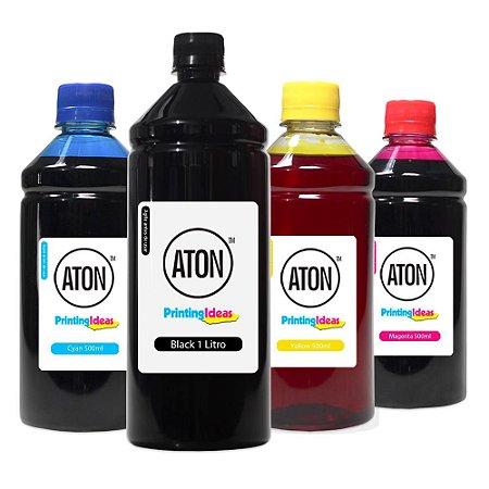 Kit 4 Tintas para HP 5525 | 670XL Black 1 Litro Coloridas 500ml Aton