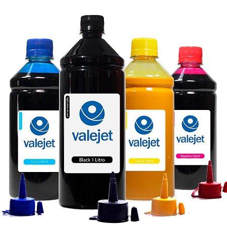 Kit 4 Tintas L200 para Epson Black 1 Litro Coloridas 500ml Pigmentada Valejet