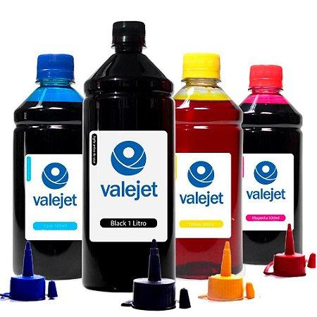 Kit 4 Tintas L110 para Epson Bulk Ink Black 1 Litro Coloridas 500ml Valejet