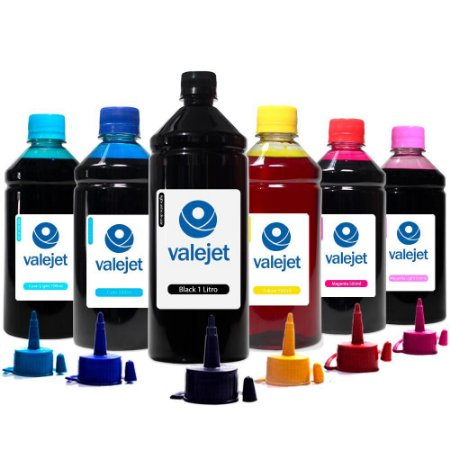 Kit 6 Tintas para Epson Bulk Ink L805 Black 1 Litro Coloridas 500ml Valejet