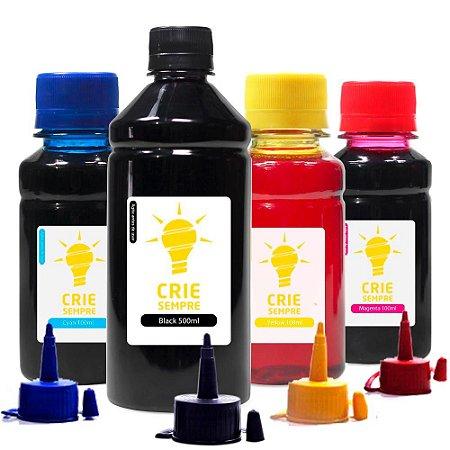 Kit 4 Tintas para Epson L365 Crie Sempre Black 500ml Coloridas 100ml