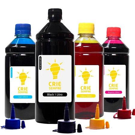 Kit 4 Tintas para Epson L455 Crie Sempre Black 1 Litro Coloridas 500ml Corante