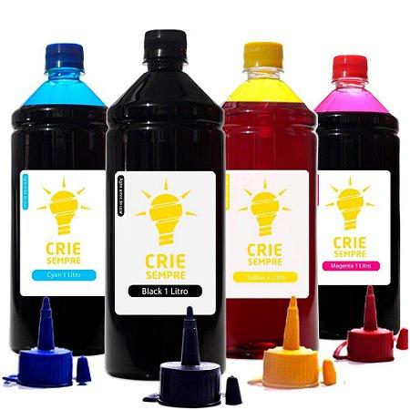 Kit 4 Tintas para Epson L565 Premium Crie Sempre CMYK 1 Litro Corante