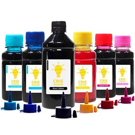 Kit 6 Tintas para Epson L1800 Crie Sempre Black 500ml Coloridas 100ml
