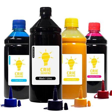 Kit 4 Tintas para Epson L365 Pigmentada Black 1 Litro Coloridas 500ml