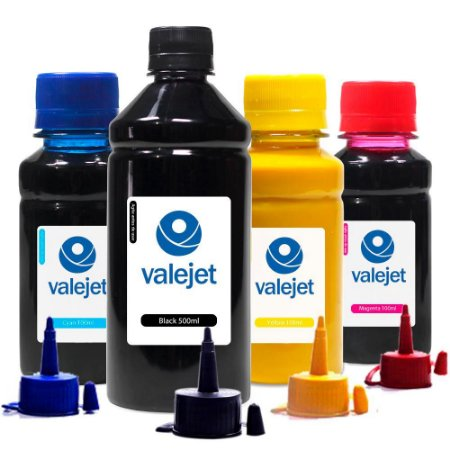 Kit 4 Tintas para Epson L575 Pigmentada Black 500ml Coloridas 100ml Valejet