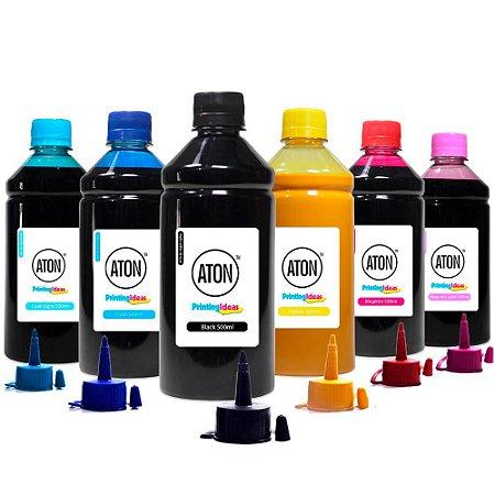 Kit 6 Tintas L800 para Epson Bulk Ink CMYK 500ml Pigmentada Aton