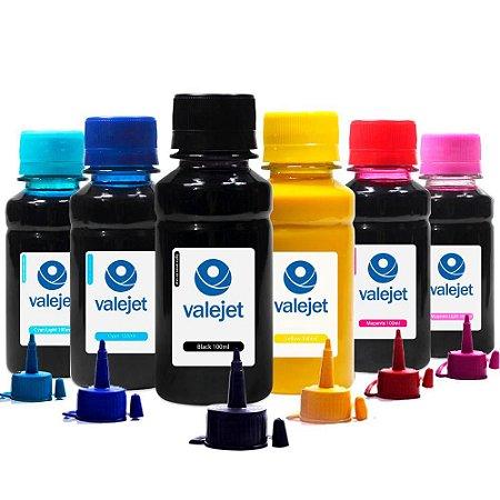 Kit 6 Tintas L800 para Epson Bulk CMYK 100ml Pigmentada Valejet