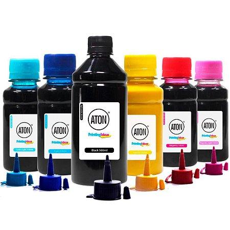Kit 6 Tintas para Epson L800 Black 500ml Color 100ml Pigmentada Aton