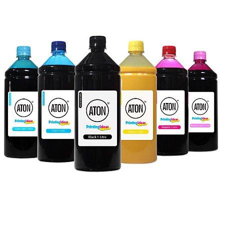 Kit 6 Tintas para Epson L810 CMYK 1 Litro Pigmentada Aton