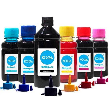 Kit 6 Tintas para Epson L800 Black 500ml Color 100ml Corante Koga